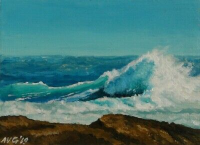 ACEO Original Seascape painting of rough sea and high waves on rocky beach