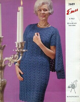 "Emu 2609 Lady Dress Jacket 4ply 32-48"" Vintage Knitting Pattern"