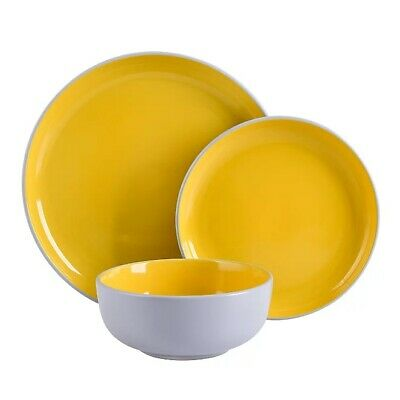 Grey and Mustard Two Tone 12 Piece Dinner Set Dinnerware Plates Kitchen Dishes
