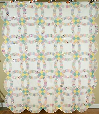 WELL QUILTED Vintage 30's Double Wedding Ring Antique Quilt ~BEAUTIFUL FABRICS!