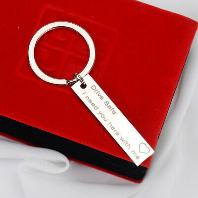 US Keyring A-Z 26 Letter Print Drive Safe I Need You Here with Me Key Chain
