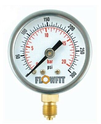 50mm Pressure Gauge Base Entry 0 - 100 PSI AIR AND OIL