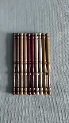 5 pairs east midland type lace bobbins drilled for spangles