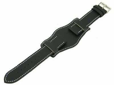 Genuine Leather Cuff Style Military Watch Strap Black 20mm