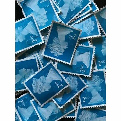100 X 2nd Class Unfranked Security Stamps Off Paper No Gum Face Value £58+