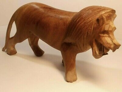 """Hand Carved Wood Lion Made In Kenya Wooden 8"""" X 4 """" Beautiful Carving"""