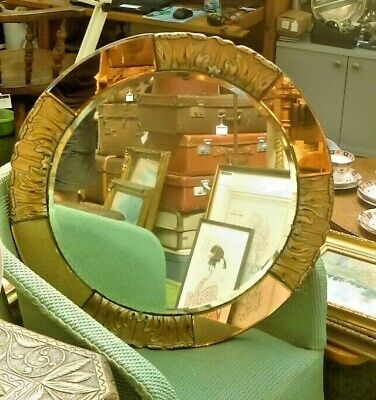 Atsonea Art Deco Circular Mirror with Amber Glass & Moulded Surround