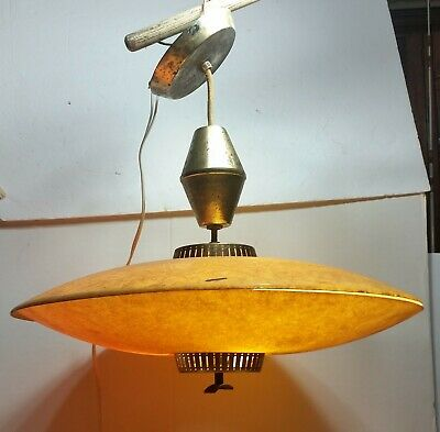 "Vintage Retractable Pull Down Mid Century 21"" fiberglass Saucer Light Fixture"