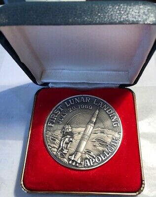July 20 1969 Apollo 11 First Lunar Landing 999 Silver Medal 3.15 Oz 52Mm Morgans