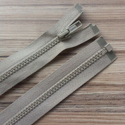 """BEIGE CHUNKY PLASTIC OPEN END ZIP -12""""/ 30 CM BEST QUALITY (No 5 weight)"""