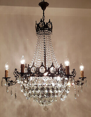 Antique Vintage 6 arms  Brass & Crystals French Style HUGE Chandelier Lighting