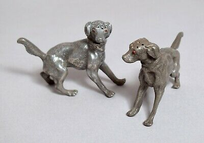 Excellent Pair Of Antique Victorian Pewter Novelty Dog Cruets