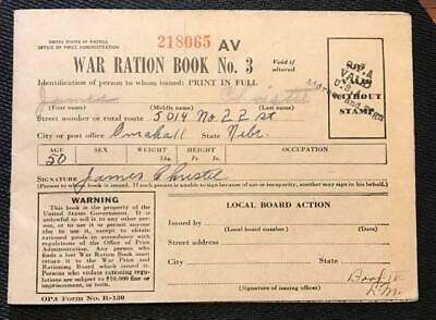WORLD WAR II RATION BOOK NO 3 w/3 FULL PAGES OF COUPONS & 1 PARTIAL PAGE