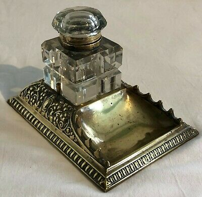 Antique Victorian Brass Desktop Inkstand Pen Tray With Cut Glass Inkwell