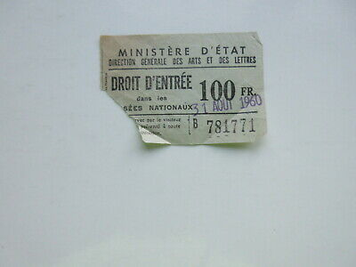 1960 France French NATIONAL MUSEUM TICKET