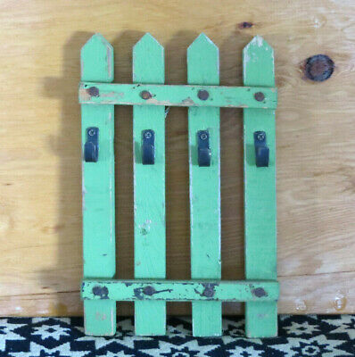 Chippy Paint Farmhouse Grubby Primitive Green Wood Picket Fence Key Holder