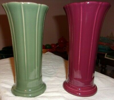 "2 (two) Fiesta Small Flared 8"" Vases Claret & Sage Mint RARE & 1st Quality"