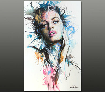Gala ORIGINAL art abstract nude girl face URBAN portrait acrylic painting ~NEW