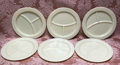 Set-6) HTF Depression Mckee CUSTARD Glass French Ivory GRILL DINNER PLATES Excnt