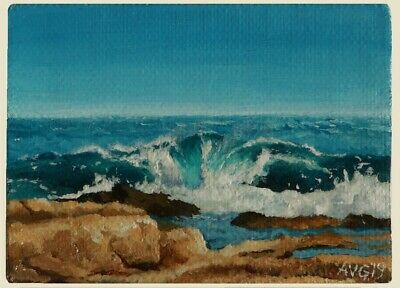 ACEO Original Seascape Painting of Ocean Waves Near Rocky Beach