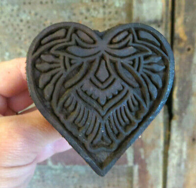 Beautifully carved Primitive wood detailed HEART w Bow Butter Mold Stamp Press