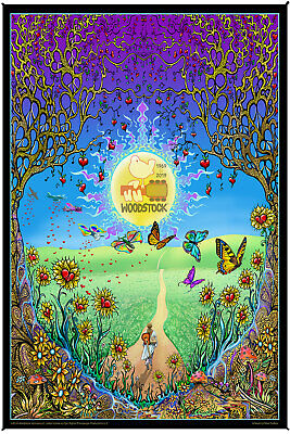Woodstock Holographic Foil Poster Back To The Garden Psychedelic Decor 12x16""