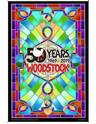 Woodstock Holographic Foil Poster 50th Anniversary Psychedelic Decor 12x16""