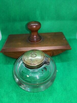 Antique Vintage Domed Glass Inkwell With Brass Lid And Ink Blotter.