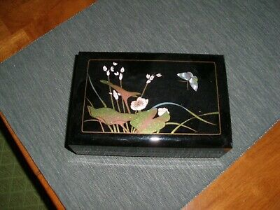 Vintage Oriental/Asian Black Lacquer Jewelry Music Box Flowers Butterfly