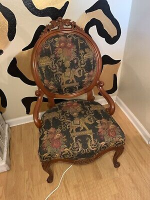Antique Karpen Chairs Carved Great Condition Multi Colored Beautiful Pieces