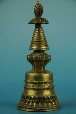 Old Chinese fengshui copper hand-carved dagoba pagoda d01