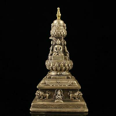 china old Copper plating silver four surface figure of Buddha pagoda statue e01E