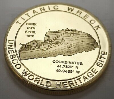 Titanic Gold 3D Coin Sinking Ship Sunk in 1912 Life Boat Three Dimensional Multi