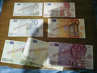 Rare! Full Specimen Set Of Seven (5 To 500) Europe Euros Uncirculated Banknotes!