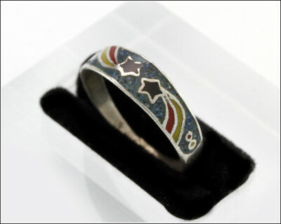 Vintage Mexico Sterling Silver Multi-Color Two Stars Enamel Ring, Size 7.25