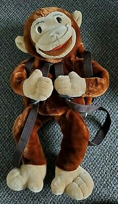 "22"" Curious George Plush Stuffed Animal Backpack Puppet By Wildkin Vintage Kids"