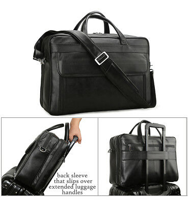 Black Men's Leather 15.6''Laptop Business Briefcase Shoulder Bag Travel Handbag