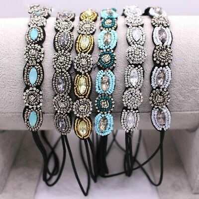 Women Vintage Bohemian Beads Headband Rhinestone Hair Band Hair  Accessories