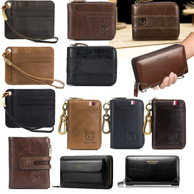 RFID Men Real Leather Wallet ID & Card Multi-pocket Coins Card Holder Purse Gift