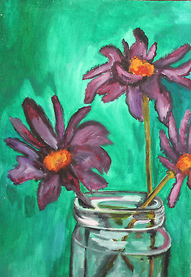 Expressionist still life with flowers oil painting