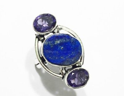 Lapis Lazuli With Amethyst Handmade Ring 7 No Size Silver Overlay