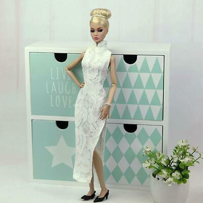 Charming Lace Long Cheongsam High-slit Gown for 1/6 BJD Doll Chinese Dress