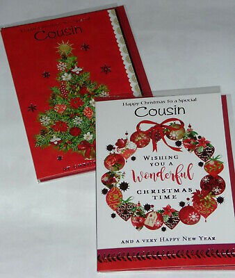 COUSIN CHRISTMAS CARDS X 12, JUST 29p,SRP £1.39, 2 DESIGNS x 6 WRAPPED (B762