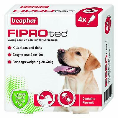 Brand New In Date Beaphar Fiprotec Spot-On for Large Dog, 4 Pipette Free Post
