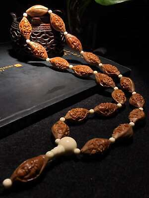 Excellent Chinese Olive Nut Pure Hand-carved *Relief Arhat* Lucky Bracelet