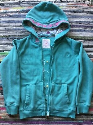 Girls Green Fat Face Hooded Jacket With Butterfly Embroidery Age 8-9 Years