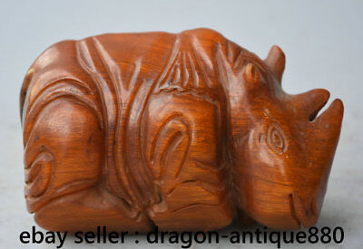 "6"" Old China Ox Horn Carving Dynasty Palace Rhinoceros Rhino Animal Sculpture"