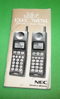 NEC VINTAGE HANDHELD PORTABLE CELLULAR PHONE MODEL EXEC 760/761 OWNER's MANUAL