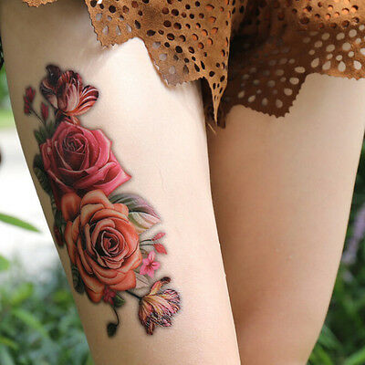 2x Fashion Fake Temporary Tattoo Sticker Rose Flower Arm Body Waterproof WomenEE