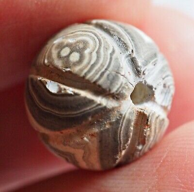 Ancient Agate multple Stunning au Banded Eyes Melon Carved Sulemani Roman Bead